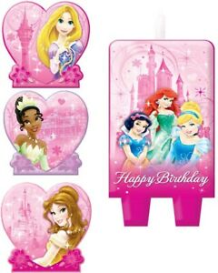 DISNEY PRINCESS Birthday Cake Candle Set 4 pieces Kids Party Ariel Snow White
