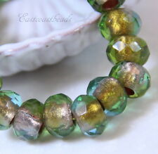 Large Hole Rondelle, Roller Beads,12mm, Light Aqua w/Copper Lining, 4 Psc, 0002