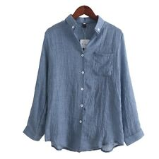 Chemisier Women Tops Fashion Autumn Linen Shirt Long Sleeve Blouse Korean Casual