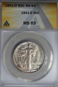 1941-D  .50   ANACS  MS 63  Walking Liberty, Half Dollar, Lady Liberty Half