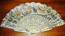 Antique French Hand Painted Fan Handmade Carved - GORGEOUS Detail and Coloring