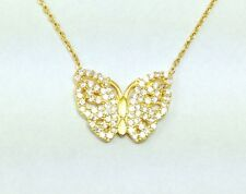 Butterfly Sterling Silver Gold Plated Pendant Necklace Cubic Zirconia Crystals