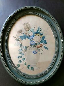 Antique Early 19thc. American Oval Theorem Watercolor framed floral painting