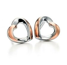 Fiorelli real Silver 2tone & rose gold Heart Earrings E5086 official stockist