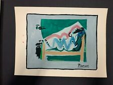 Vintage Picasso Original Art Painting On Paper, Signed.  Reclining Nude Woman