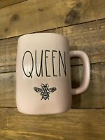 "New RAE DUNN Artisan Collection LL ""QUEEN"" Bee Pink Mug By Magenta"