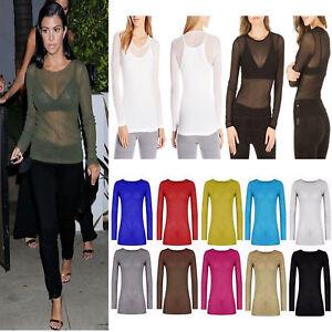 Women's Top Ladies Sheer Mesh Fish Net Long Sleeve Scoop Neck T-Shirt Size 8-22