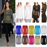 Women's Top Ladies Sheer Mesh Fish Net Long Sleeve Scoop Neck T-Shirt Size 8-22