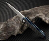"Artisan Cutlery Shark Folding Knife 3"" D2 Tool Steel Blade Carbon Fiber Handle"