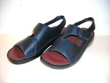 "DR. SCHOLL'S  navy LEATHER SANDALS ""NINA""  double AIR-PILLO INSOLES Size 9 M"