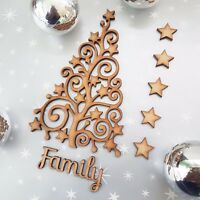 Wooden Christmas Tree  blank Christmas Craft Arts MDF Box free Stars + Family