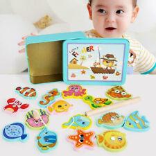 GIOCO Pesca Magnetica Magnete in Legno Giocattolo Bambini Set Gioco Educativo per Bambini per pesci