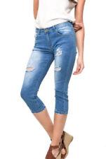 Damen-Jeans mit mittlerer Bundhöhe (en) Caprinietenhosen Risse/Fetzen