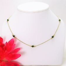 """Vintage Tin Cup Style 14K yellow gold & natural green Jade 15.5"""" bead Necklace"""