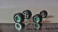 HOT WHEELS  bbs TYPE AQUA CHROME RING RUBBER TIRES ONE SET BIG & SMALL