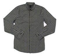 Armani Exchange Mens Shirt Black Size Medium M Button Down Logo Print $85 #057