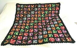 "Black Multicolor Granny Square Afghan Crochet Throw Blanket Roseanne 54"" X 54"""