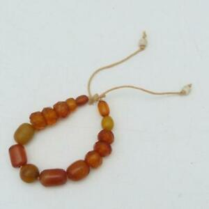 ANTIQUE CHINESE BUTTERSCOTCH AMBER STYLE BEADS BRACELET