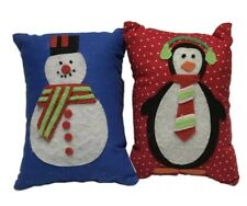 Mini Christmas Pillows Penguin Snowman Set of 2