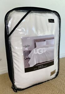 UGG Coco Heavyweight Plush Blanket QUEEN 90x90 Inches SNOW WHITE NWT