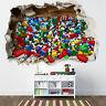 LEGO SMASHED WALL STICKER - 3D BEDROOM LEGO BRICKS BOYS GIRLS DECAL