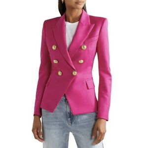 New Women Office Double-Breasted Blazer Pink Small