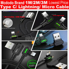 Wholesale Lot Mcdodo Led Right Angle iphone Type-C Micro-Usb Charging Cable