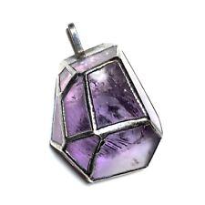 Vintage Sterling Silver Encased Purple Amethyst Modernist Gemstone Pendant