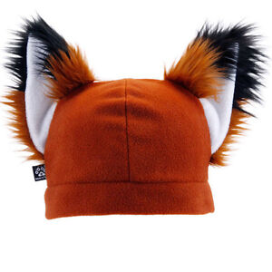 PAWSTAR Fox Furry Ears Beanie - Hat Rust Brown Realistic Natural Red [CLARU]1310