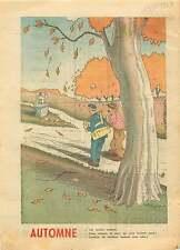 Caricature Automne Menuisier Bucheron Croix Chrétiens France 1949 ILLUSTRATION