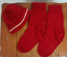 Vintage Knit Crochet Winter Snow Sock Beanie Hat Cap & Socks Maroon White