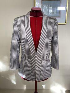 Australian Striped Blazer, Size 10, Jacqui E, Blue & White