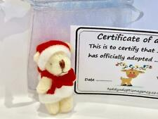 Mini Santa Christmas Teddy Bear With Adoption Certificate Gift Bag Party Travel