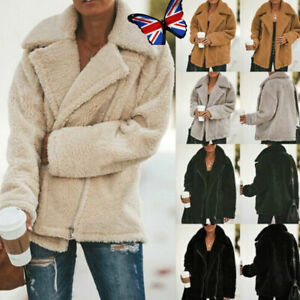 Womens Teddy Bear Oversized Coat Ladies Warm Zip Faux Thicken Fleece Jacket Coat