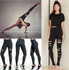 UK Womens Yoga Fitness Ripped Leggings Running Gym Stretch Sports Pants Trousers
