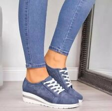 Womens Wedge Med Heel Lace Up Fashion Sneakers Round Toe Sport Shoes Casual