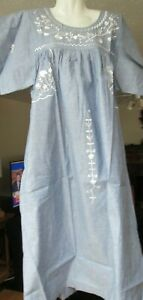 Vermont Country Store Embroidered Short Sleeve Chambray Dress