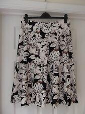 DAMART Summer Skirt White/Black/Brown/Pink Floral Print Knee Length UK Size 16