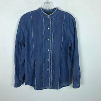 Ralph Lauren Jeans Co Blouse Size 4 Chambray Blue Pintucks Long Sleeve Womens