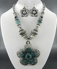 Silver Tone And Patina Flower Pendant Some Glass Faceted Bead Necklace Earring