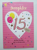 Daughter 15th 15 Today Heart & Balloons Design Happy Birthday Card Lovely Verse