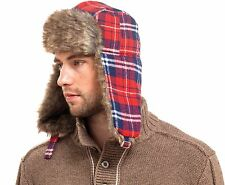 RJM Mens Checked Trapper Hat with Fur