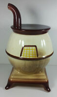 Vintage Pot Belly Stove Cookie Jar 12in Tall Canister Oven Rare Base Lid Ceramic
