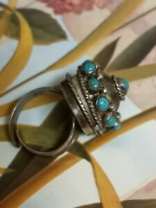 Vintage STERLING SILVER Mexico Taxco Turquoise Adjustable POISON RING