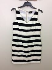 Womens Just Taylor Black and Cream Striped Dress sz 12 Crochet Dot Accents