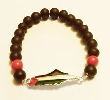 Unisex Palestine Silver Metal Flag black & Red beaded Bracelet Fashion Map