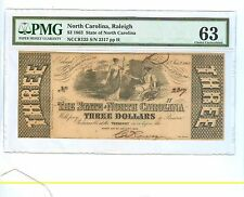 1863 THREE DOLLARS THE STATE OF NORTH CAROLINA, RALEIGH PMG-63 CHOICE UNC.