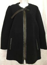 Chloe Shearling Coat Navy With Leather Trim Zip Up Size 36