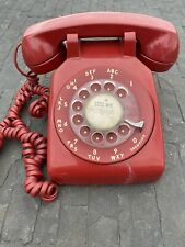 Vintage Red Rotary Phone Telephone Bell System Western Electric