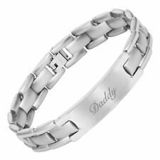 Willis Judd Mens Engraved Love You Daddy Titanium Bracelet with Gift Box